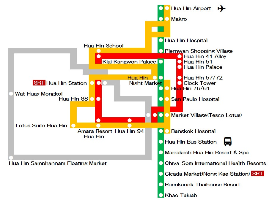 Locations in Hua Hin best served by public transportation